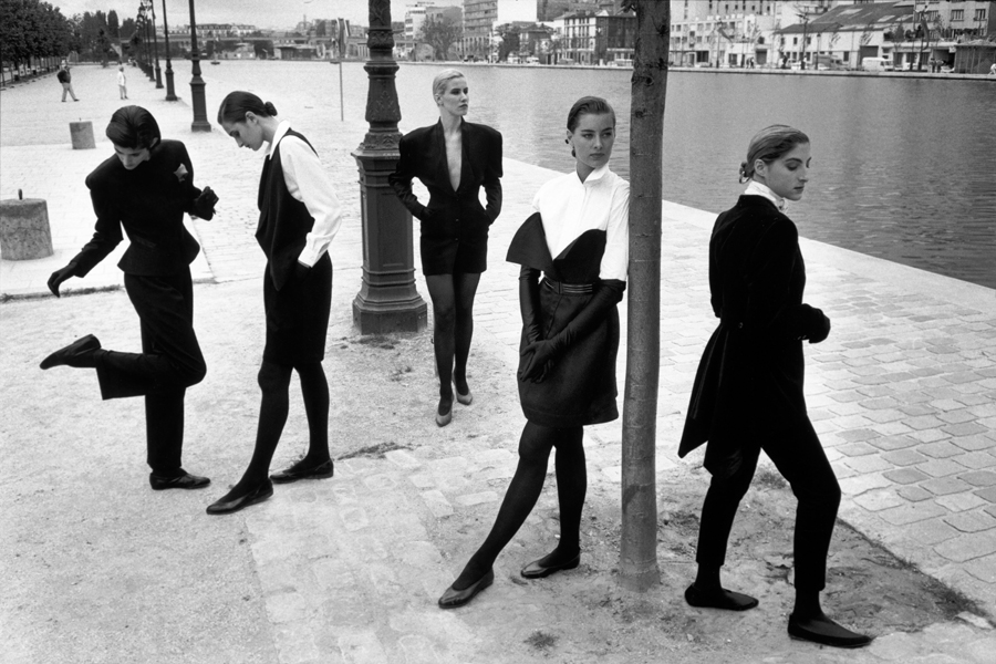 FRANCE. Paris. Canal St Martin. Models pose for fashion collection. 1987.