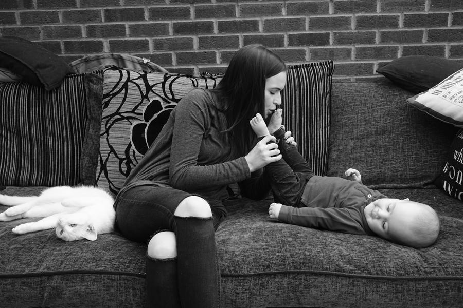 UK. Walsall. Mr Jasper with mum Harley and cat Pablo.