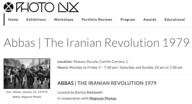 Abbas: The Iranian Revolution 1979 at the Photolux Festival in Lucca, Italy