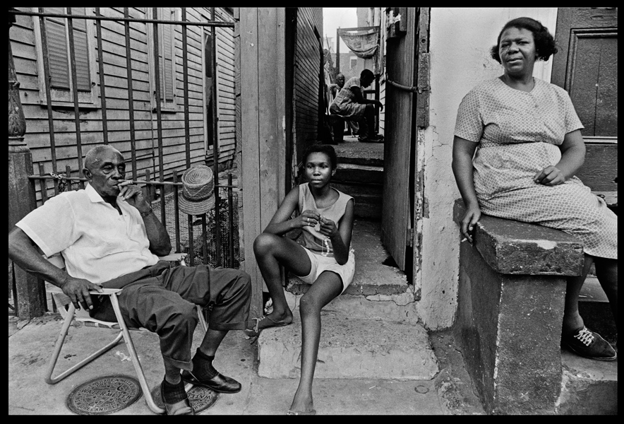 U.S.A. Louisiana. New Orleans. 1968. African-Americans resting on their porch.