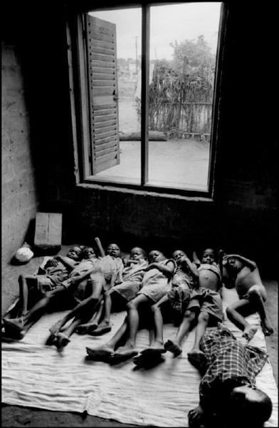 NIGERIA. (Ex BIAFRA). Orphans of the civil war during siesta in an orphanage.